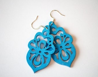 Royal Blue Floral Wood Dangles