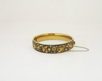 Vintage Damascene Bracelet, Damascene Cuff with Birds and Flower Ornate. Damascene Black and Gold Bracelet