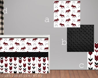 Red, Black, Moose, Buffalo Check, Arrows,Camping, Woodland, Baby Bedding
