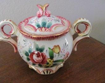 Vintage JAPAN Floral Sugar Bowl With Lid Excellent