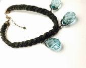 Aquamarine Crystal Briolettes Chocker/Necklace, Vintage , Black, Leather, Silver Tone, Clearance Sale, Item No. B671