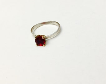 Vintage Solitaire Ring Size 8.5, Sterling Silver & gold, Stamped, Ruby Red, Item No. S342