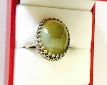 Sterling Ring Size 7, Vintage Boho Green Oval Stone, Stamped, Clearance SALE, Item No. S443
