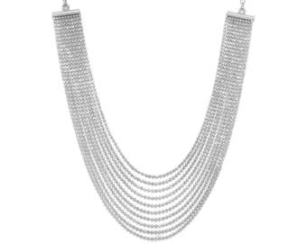 Rhodium Plated Sterling Silver Faceted Bead Chain Necklace