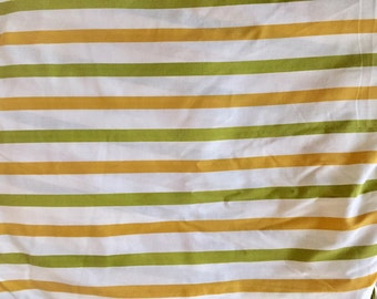 Vintage 1970s Cannon Monticello Avocado Green Yellow Stripe Full Fitted Sheet