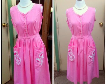 Vintage 1950s 50s Pink Cotton Day Dress Sleeveless Sun Dress Belt Daisy Pleated Skirt Small S Rockabilly VLV CAROL Brent