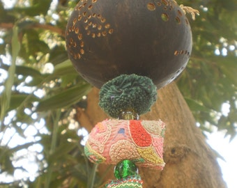 Coconut Lantern With Vintage Textiles And Bead Work, Decorative Lighting, Tribal Decoration