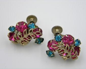 Vintage Pink and Blue Rhinestone screw on earrings silver tone leaf