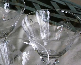 Elegant  Entertaining // Set of Seven Sherbet//Champagne or Cocktail Cut //  Etched Crystal Glasses one is not pictured
