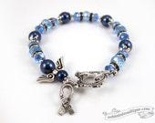 Colon Cancer bracelet awareness jewelry Guardian Angel bracelet hope bracelet cancer awareness blue ribbon bracelet gift cancer jewelry