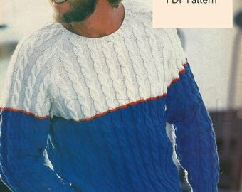 """Vintage 1970s MEN""""s Knitted CABLED Sweater Pattern, Knitting PDF Pattern, Knitting Instant Download"""
