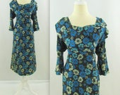 ON SALE Vintage 1940s Silk Dress XL in Blue Floral Print