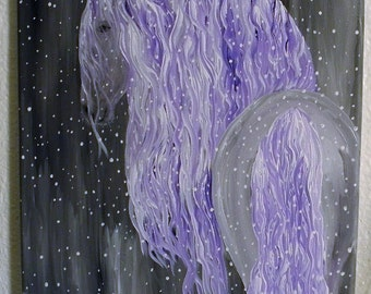 original horse painting, fairytale horse, horse in snow, purple mane, fine art, room decor, home decor