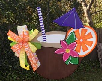 Luau Door Hanger, Summer Door Hanger, Tropical Decor, Coconut Drink, Tropical Drink, Pool Parties