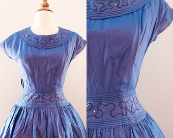 1950s Blue Metallic Dress with Rhinestone Detail