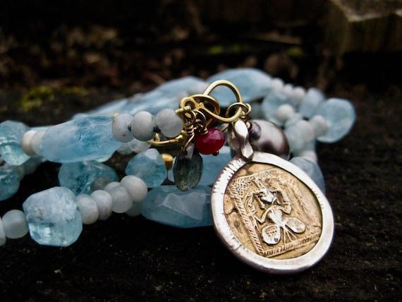 ALPANA  Aquamarine, Tahitan Pearl, Tourmaline, Ruby 18k, Charm Necklace