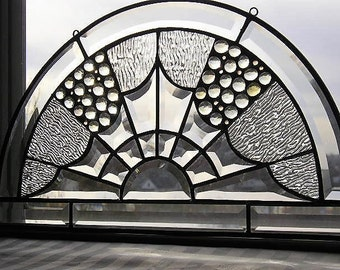 Stained Glass Art Panel|Clear Beveled Glass Panel|Semi Circle Glass Transom|Modern|Art and Collectibles|Glass Art|Handcrafted|Made in USA