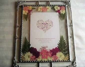 Glass Art Framed Wedding Invitation Pressed Flower Art Wedding Keepsake Weddings Gifts & Mementos Keepsake Handcrafted Made in USA