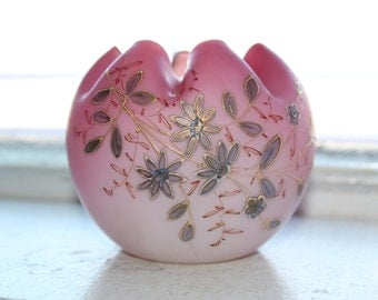 Pink Satin Glass Rose Bowl Hand Painted Flowers Crimped Top Antique 1900s
