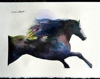 Watercolor ORIGINAL - Royal Friesian 3 horse, friesian, stallion, black, gallop, pony