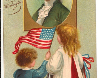 Vintage Postcard, George Washington, Patriotic, Boy Waving Flag, ca 1910