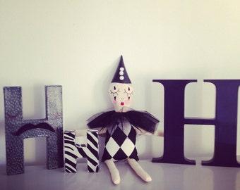Harlequin doll, RosieDoll, Rag Doll, Dolly, Handmade Doll, girl gift, cloth doll, doll maker, monochrome