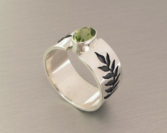 Peridot Ring, Olive Leaf Ring, August Birthstone, Engagement Ring, Sterling Silver Ring, Wide Band