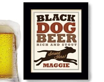 Black Dog Beer Art Labrador Art Beer Gift Bar Art Personalized Pet Black Labrador Retriever Dog Lover Gift Personalized Dog Art Print