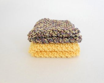 Yellow Cotton Washcloths Knit Dishcloths Set of 2