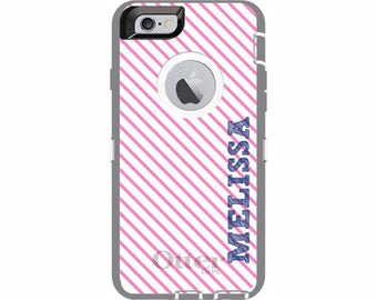 Custom iPhone 6 & iPhone 6s Diagonal Stripes Otterbox Defender Phone Case | Personalized Otterbox Phone Case