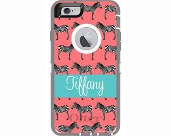 Personalized iPhone 6 & iPhone 6s Zebra Love Otterbox Defender Phone Case | Custom Phone Cases