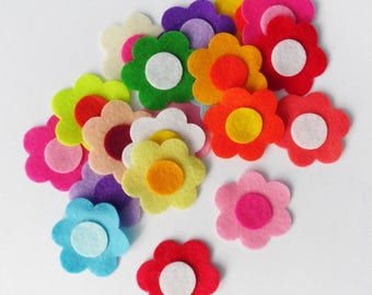Felt applique, Felt Flower applique, Felt Embellishment, felt die cut, Craft Supplies, Felt flowers, hair bow supplies, felt round flower