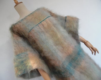 MOHAIR GEM! . Maxi Dress 70s Very Fluffy Hairy Fuzzy Absolutely Impossible To Find S