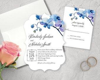 Wedding Invitation Set - Printed Wedding Invitation - Ornate Luxe - Die Cut Wedding Invitation and Response Card - Butterfly Orchid