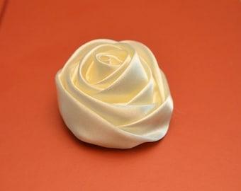 Sale Ivory Satin Rose. Satin Rose Flower. Set of 2. Rolled Ivory Satin Flower.