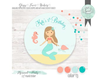 "Mermaid Party Favor Sticker.  Personalized with name, phrase & hair color. Favor glossy sticker sized 2.5"" round. Muliple QTY and colors"