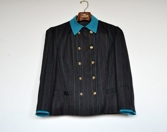 Vintage Grey and Multicolor Stripes Fake Double Breasted Blazer Jacket