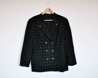 Vintage Green and Charcoal Plaid Wool Rustic Blazer Jacket Vintage Folk Tartan Coat
