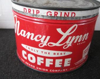 Vintage Nancy Lynn Coffee Tin, Key wind tin