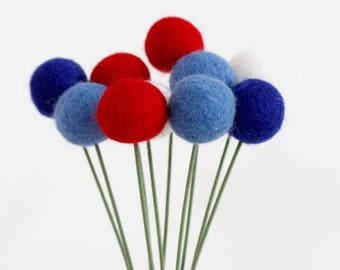 Red White & Blue Felt Pom Pom Flowers- Billy Ball Flowers- Fourth of July bouquet- Flower bouquet- patriotic wool pom poms red white blue