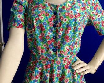 Vintage Midcentury Flowered Day Dress Cotton Flowered 1950 1060