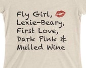 Lipsense shirt, LIPSTICK shirt, LIPSENSE colors, Fly Girl, Lexie-Beary, First Love, Dark Pink & Mulled Wine, Vender Shirt, LIPS, Kiss Print