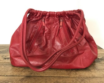 Vintage 1980s Red Leather Shoulder Bag