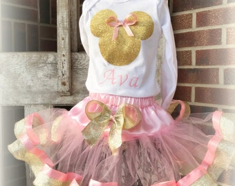 Minnie Pink Gold Disney Birthday Outfit Girl Boutique Birthday Outfit Tutu Shirt Hat Pink Dots First Second Third Sewn