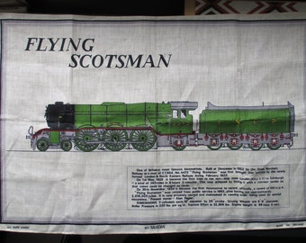 Vintage Flying Scotsman Linen Wall Hanging