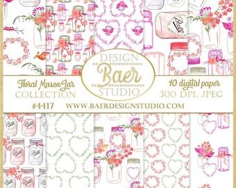 Digital Paper Floral, Mason Jar Digital Paper, Bridal Shower Digital Paper, Shabby Chic Ciital Paper, Heart Digital Paper, #4417