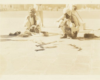 Hindu Snake Charmer playing pungi India Pakistan social realism found large photo snapshot old photograph ephemera