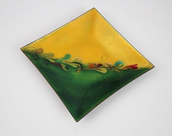 Vintage Copper Enamel Square Plate Trinket Dish - Signed Mid Century Abstract Art Decorative Plate - Yellow Green Decor Accent Piece