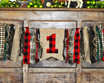 Lumberjack camp woodland deer party, first 1st birthday highchair rag banner, black and red buffalo plaid flannel & burlap photo prop