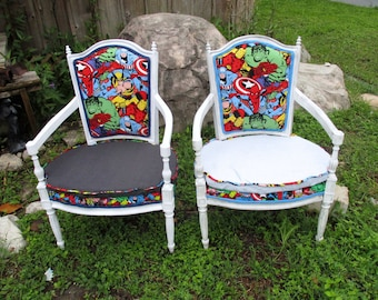 Marvel Comics Superhero custom chairs man cave nursery antique original wood armchairs